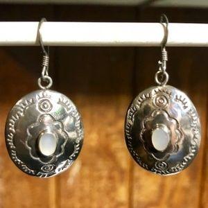 Sterling SIlver M.O.P. Concho Dangle Earrings
